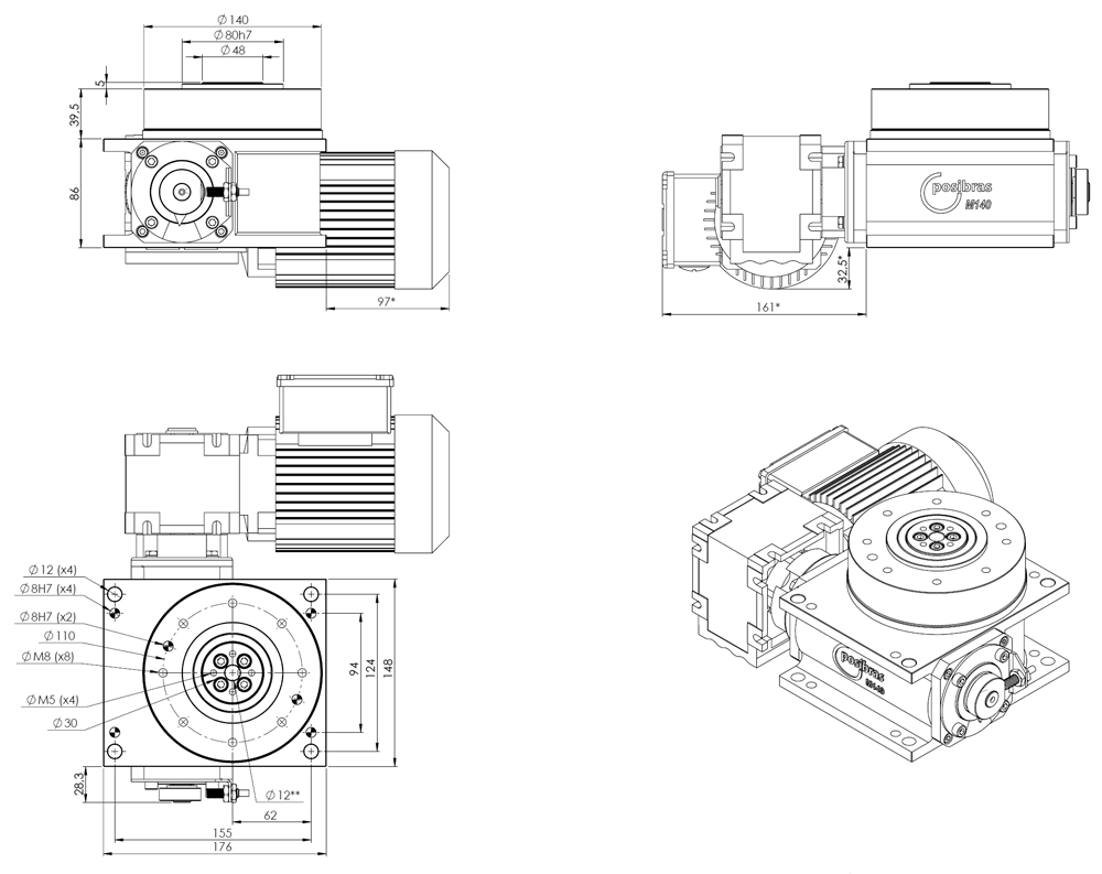 M140 Principais dimensões