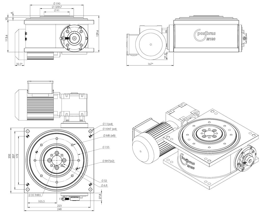 M190 Principais dimensões