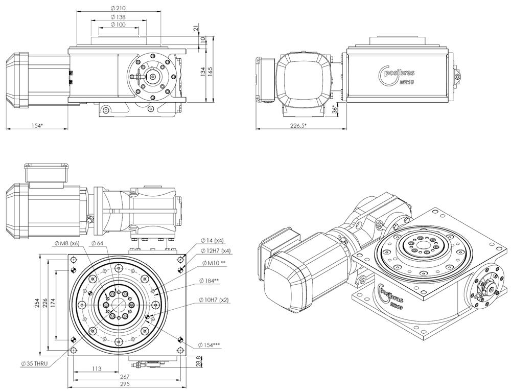 Principais dimensões da mesa indexadora M210